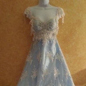 Ivory & Blue Lace Semi Backless Wedding Gown